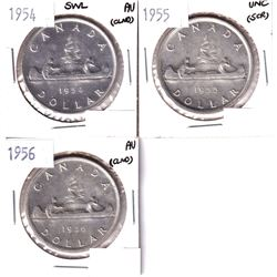 Lot of 3x Silver dollars. Lot includes 1954 SWL, 1955, & 1956, some tougher Elizabeth II dates. All