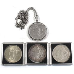 Estate Lot of 4x USA Silver Morgan/Peace Dollars. Lot includes 1879, 1881-O, 1879 (Jewellery mounted