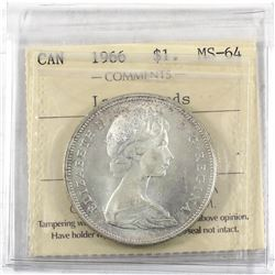1966 Canada Silver $1 Large Beads ICCS Certified MS-64.