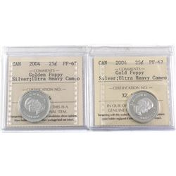 Pair of 2004 Silver Golden Poppy 25-cent ICCS Certified PF-67 Ultra Heavy Cameo. 2pcs