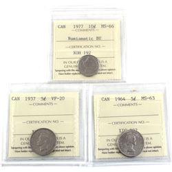 3x ICCS Certified coins: 1937 5-cent VF-20, 1964 5-cent MS-63 & 1977 10c MS-66 NBU. 3pcs