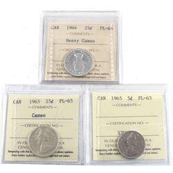 3x ICCS Certified Coins: 1964 25-cent PL-66 HC, 1965 25-cent PL-65 cameo & 1965 5-cent PL-63. 3pcs