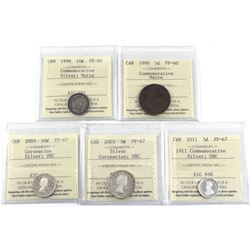 5x ICCS Certified Coins: 1998 10c Commemorative silver matte PF-60, 1998 1c Matte Commemorative PF-6