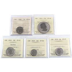 5x ICCS Certified Coins: 1999 5c SP-65, 2012 Pachyrhinosaurus 25c SP-66, 2018 25c SP-67, 2019 5c SP-