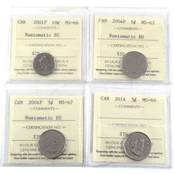 4x ICCS Certified Coins: 2001P 10c MS-66 NBU, 2004P 5c MS-67 NBU, 2004P 5c MS-67 NBU & 2014 5c MS-66