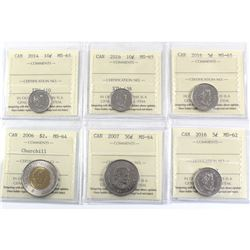 6x ICCS Certified Coins: 2006 Churchill $2 MS-64, 2007 50c MS-64, 2014 10c MS-65, 2016 5c MS-62, 201
