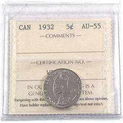 1932 Near 2, Far S Canada 5-cent ICCS Certified AU-55