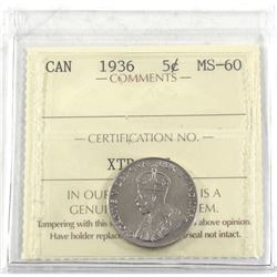 1936 Far Rim 5-cent ICCS Certified MS-60