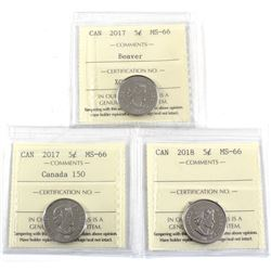 2017 Beaver, 2017 Canada 150 & 2018 Canada 5-cent ICCS Certified MS-66. 3pcs