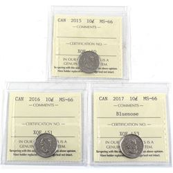 2015, 2016 & 2017 Bluenose Canada 10-cent ICCS Certified MS-66. 3pcs