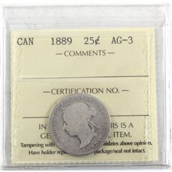 1889 Canada 25-cent ICCS Certified AG-3