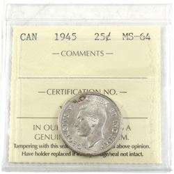 1945 Canada 25-cent ICCS Certified MS-64