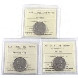 2015, 2017 Stanley Cup & 2018 Canada 25-cent ICCS Certified MS-66. 3pcs