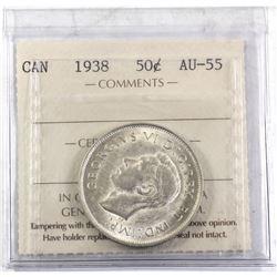 1938 Canada 50-cent ICCS Certified AU-55