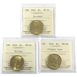2016 Birthday MS-65, 2016 Holiday MS-66 & 2016 Olympic Loon MS-66 All ICCS Certified coins. 3pcs