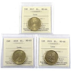 2017 MS-66, 2018 MS-65 & 2019 MS-66 ALL ICCS Certified coins. 3pcs