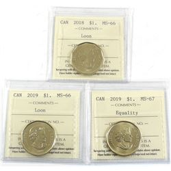 2018 MS-66, 2019 MS-66 & 2019 Equality MS-67 All ICCS Certified coins. 3pcs