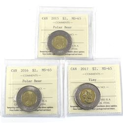 2015, 2016 & 2017 Vimy Two Dollar ICCS Certified MS-65. 3pcs