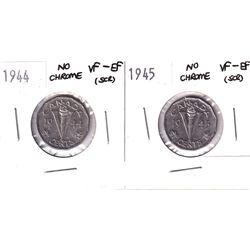 1944 & 1945 Canada No Chrome 5-cent VF-EF (scratched). 2pcs