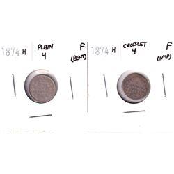 1874-H Crosslet & Plain 4 5-cent Fine (Impaired/Bent). 2pcs