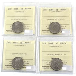 1985, 1986, 1987 & 1988 Canada 5-cent ICCS Certified MS-64. 4pcs