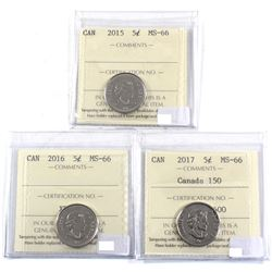 2015, 2016 & 2017 Canada 150 5-cent ICCS Certified MS-66. 3pcs