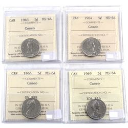 1963, 1964, 1966 & 1969 Canada 5-cent ICCS Certified MS-64 Cameo.4pcs