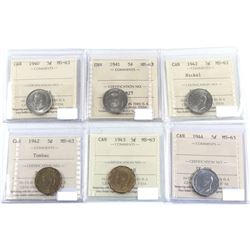 1940-1944 Canada 5-cent ICCS Certified MS-63. 6pcs