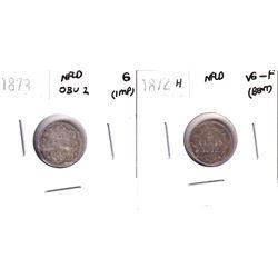 1872H NFLD 5-cent VG-Fine (Bent) & 1873 Obverse 2 NFLD 5-cent Good (impaired) 2pcs