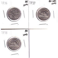 Lot of 3x Canada 5-cents: 1936 AU (scratched), 1937 AU-UNC (scratched) & 1938 5c AU (scratched). 3pc