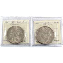1921 USA Morgan Dollar AU-55 & 1923-S Peace Dollar AU-50, both ICCS Certified. 2pcs