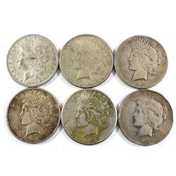1883, 1922 & 1923 Silver USA Dollars. Lot includes 1x 1883, 2x 1922 & 3x 1923. 6pcs