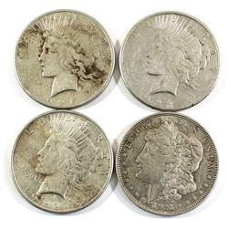 1921, 1922, 1923 & 1926 USA Silver Dollars. 4pcs