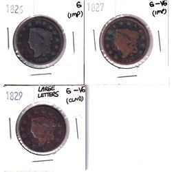 1826, 1827 & 1829 USA 1-cents in Good/G-VG Condition (Cleaned/impaired). 3pcs
