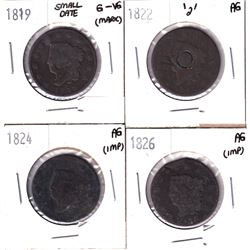 1819-1826 USA One Cent AG/G-VG Condition. Lot includes: 1819 Small Date G-VF (Marks), 1822 Counter S
