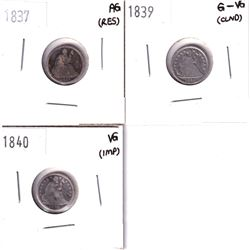 1837 AG (residue), 1839 G-VG (Cleaned), & 1840 VG (Impaired) All USA silver Half Dime. 3pcs