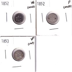 1852 USA 3-cent VG (hole), 1852 USA 3-cent F (Holes) & 1853 USA 3-cent VF (impaired). 3pcs