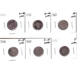 1865-1870 USA 3-cent coins: 1865 G-VG (impaired), 1866 G-VG (corrosion), 1867 VG (scratched), 1868 F