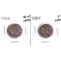 1919S USA 5-cent VG-Fine (Spot) & 1919 D USA 5-cent Fine (Corrosion). 2pcs