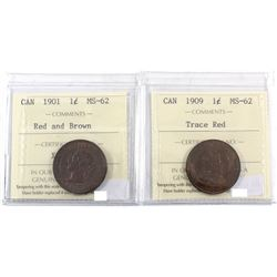 1901 Red/brown & 1909 Trace Red Canada 1-cent ICCS Certified MS-62. 2pcs