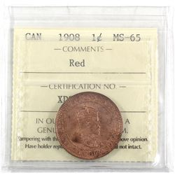 1908 Canada 1-cent ICCS Certified MS-65 Red