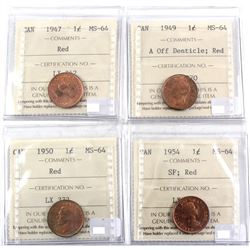 1947, 1949 A off Denticle, 1950 & 1954 SF Canada 1-cent ICCS Certified MS-64 Red. 4pcs