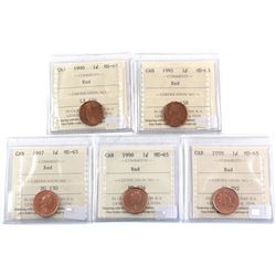 1990, 1991, 1997, 1998 & 1999 Canada 1-cent ICCS Certified MS-65 Red. 5pcs