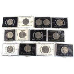 Collection of Vintage John F. Kennedy Half Dollars in Souvenir Holders. Dates include: 1967, 1969, 2