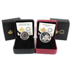 2014 Canada $5 Alice Munro & 2014 Canada $5 Flowers in Canada - Rose Silver and Niobium. Coin packag