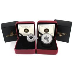 2013 $10 Maple Leaf & 2013 $3 Maple Leaf impression Fine Silver Coins. 2013 Maple Leaf (lightly tone