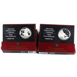 2005-2006 Canada $20 National Park Fine Silver Coins - 2005 Mingan Archipelago & 2006 Nahanni Northw