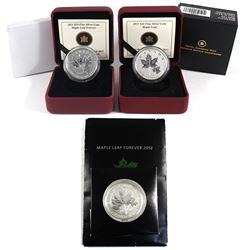 2011, 2012, 2013 $10 Maple Leaf Fine Silver Coins (Tax Exempt). 3pcs