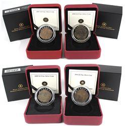 2007-2010 Canada $4 Dinosaur series Fine Silver Coins (toned). Lot includes: 2007 Parasaurolophus, 2