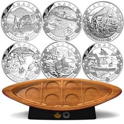 2015 $10 Canoe Across Canada 6-Coin Set & Canoe Shaped Box (TAX Exempt).